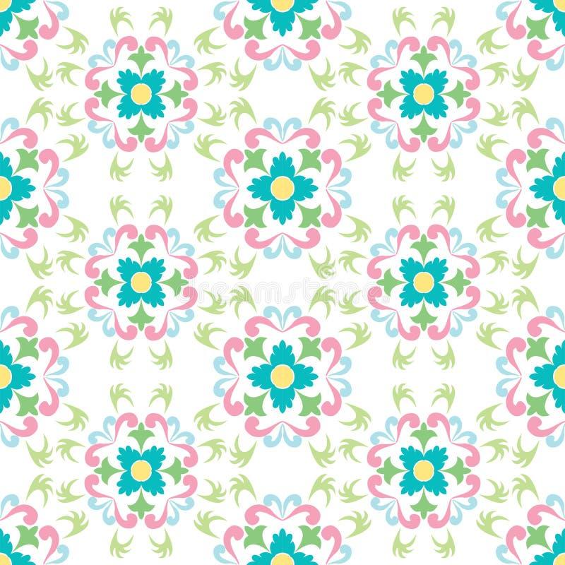 Reticolo di fiori senza giunte su priorità bassa bianca royalty illustrazione gratis