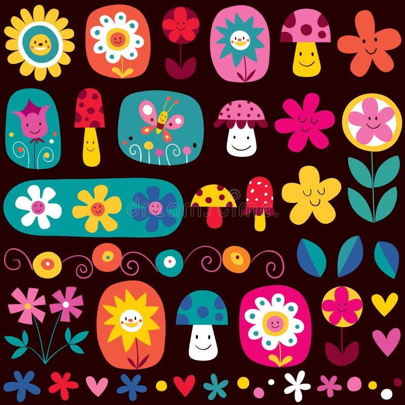Reticolo di fiori sveglio illustrazione vettoriale