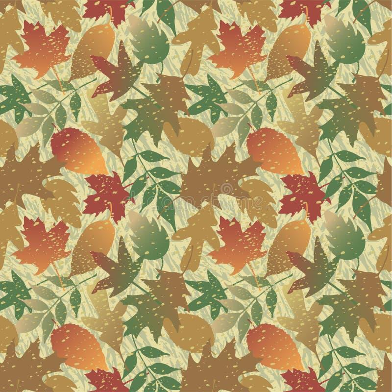 Reticolo di Grunge dei fogli di autunno illustrazione vettoriale