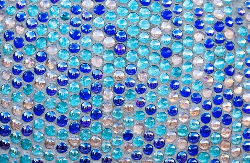 Reticolo di mosaico di vetro blu rotondo fotografia stock