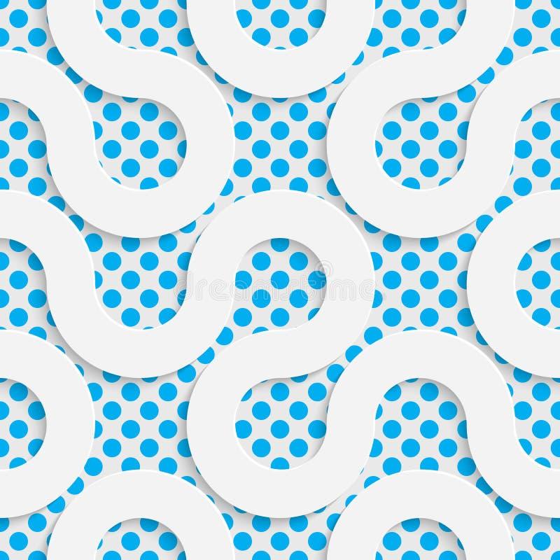 Reticolo di onda senza giunte Bianco e fondo di spostamento blu illustrazione vettoriale
