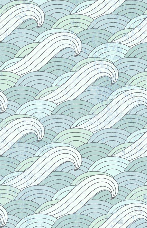 Reticolo di onde Oceano Modello dell'acqua illustrazione vettoriale