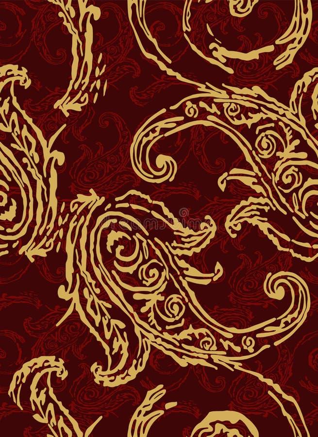 Reticolo di Paisley Elementi etnici tradizionali Cetriolo turco dell'ornamento senza cuciture Motivi asiatici per modo, interno,  illustrazione di stock