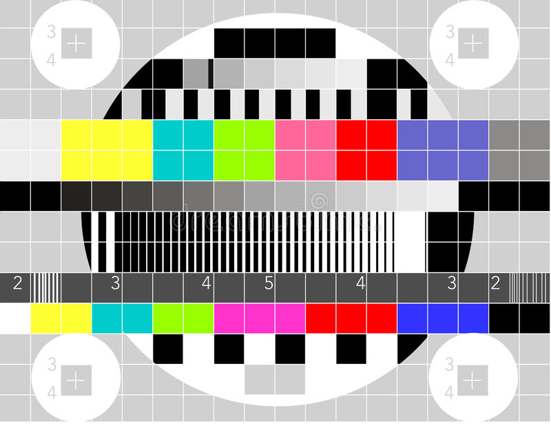 Reticolo di prova multicolore del segnale della TV illustrazione di stock