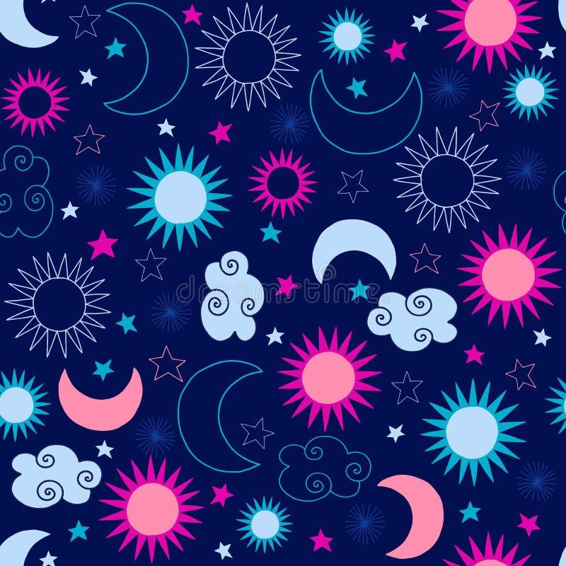 Reticolo di stelle celeste di Sun illustrazione vettoriale