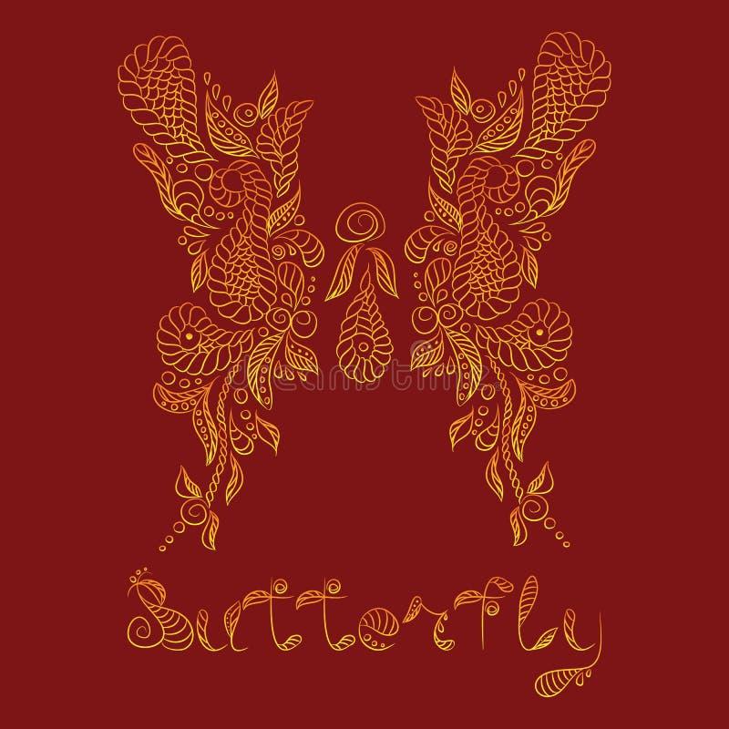 Reticolo di vettore Farfalla dell'oro di Mehendi royalty illustrazione gratis