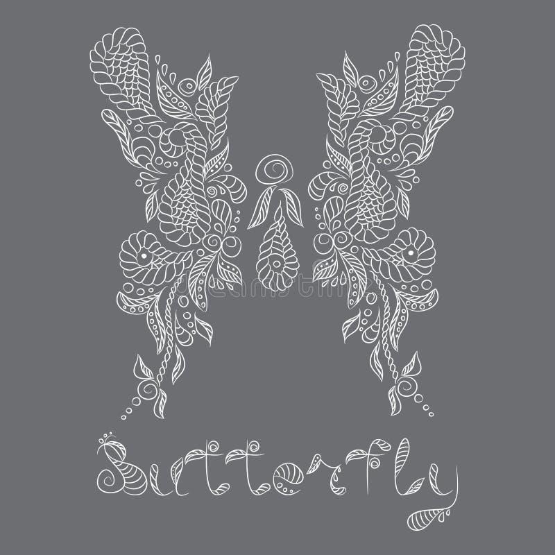 Reticolo di vettore Farfalla di bianco di Mehendi illustrazione di stock