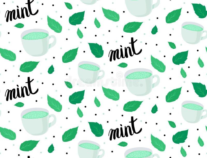 Reticolo di vettore Tazze con il tè della menta, le foglie di menta e l'iscrizione scritta a mano su fondo bianco Colore verde e  illustrazione di stock
