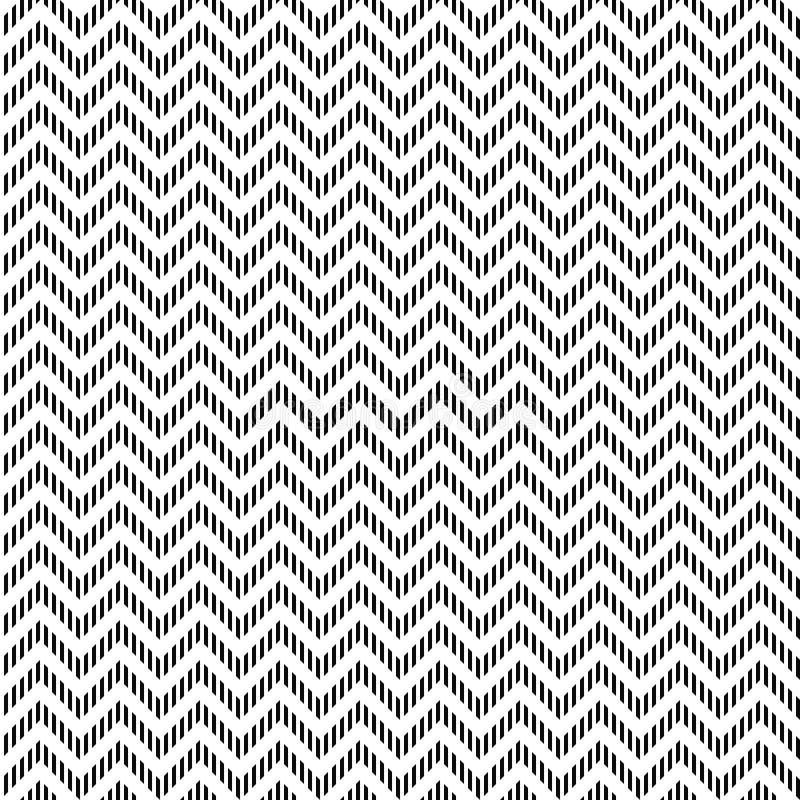 Reticolo di zigzag senza cuciture di vettore Struttura di Chevron Fondo in bianco e nero Progettazione tratteggiata monocromatica illustrazione vettoriale