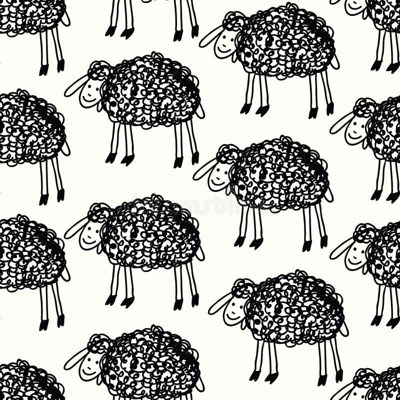 Reticolo divertente con gli sheeps illustrazione vettoriale