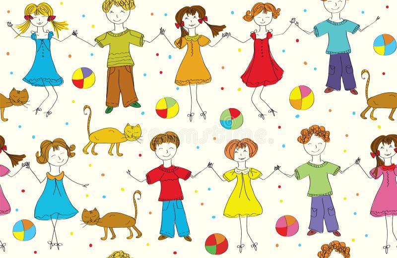 Reticolo divertente senza giunte dei bambini con i gatti royalty illustrazione gratis