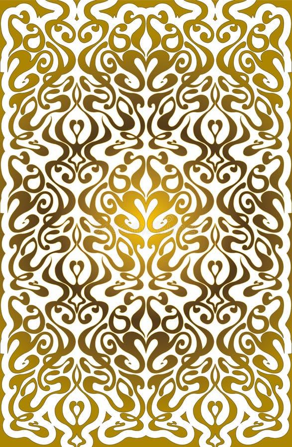Reticolo dorato con l'ornamento floreale illustrazione di stock