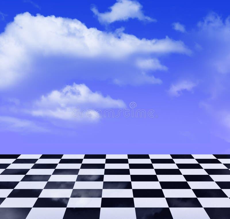 Reticolo e cielo blu in bianco e nero illustrazione di stock