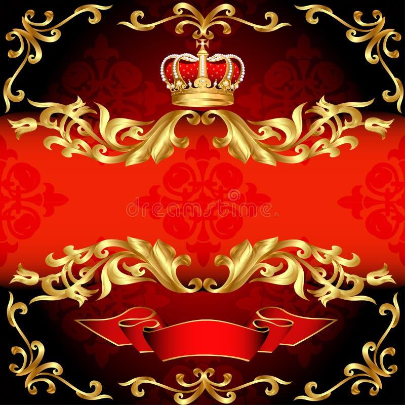 Reticolo e corona rossi dell'oro del blocco per grafici della priorità bassa illustrazione vettoriale