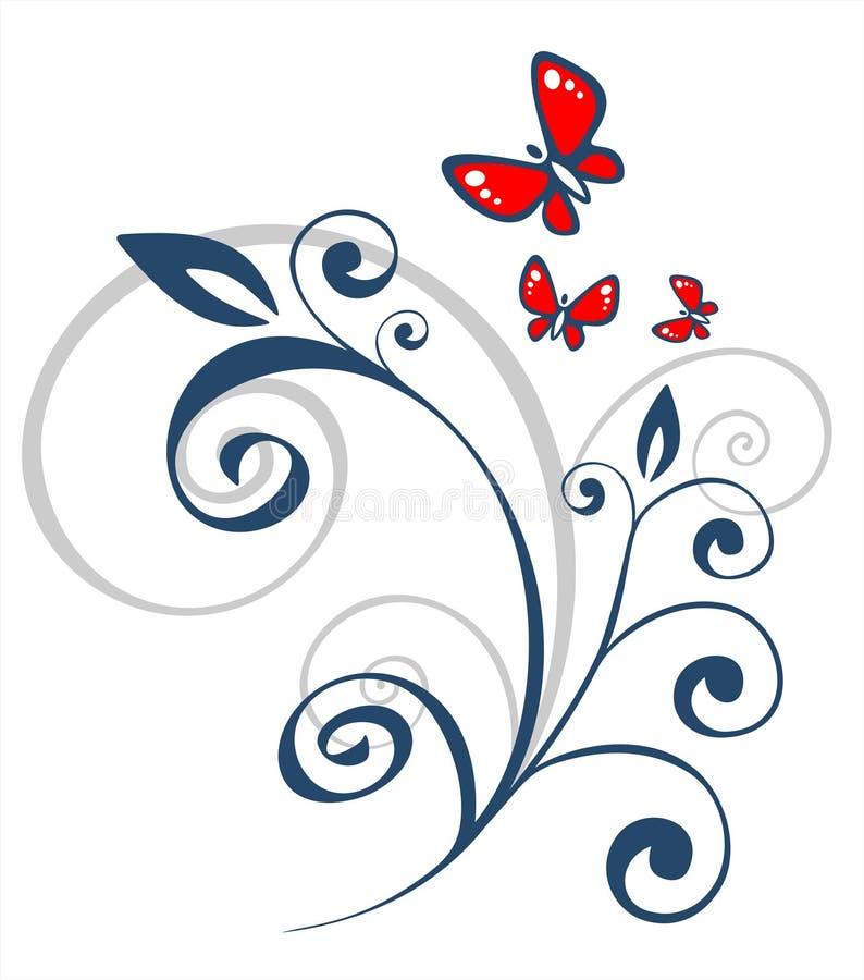 Reticolo e farfalle floreali illustrazione di stock