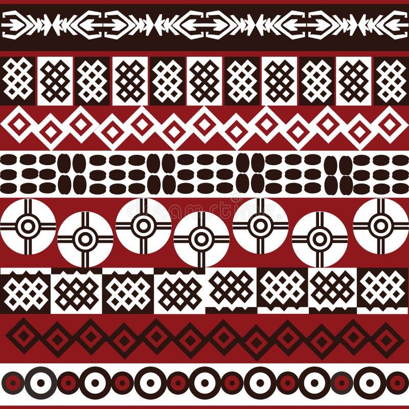 Reticolo etnico con i simboli africani illustrazione vettoriale