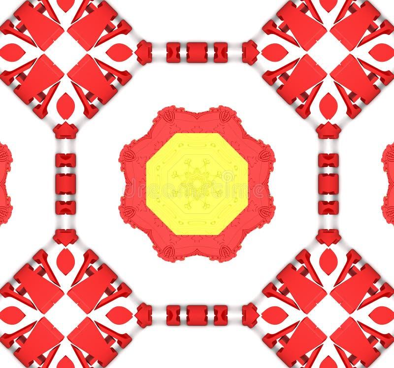 Reticolo etnico Progettazione astratta del tessuto del caleidoscopio illustrazione vettoriale