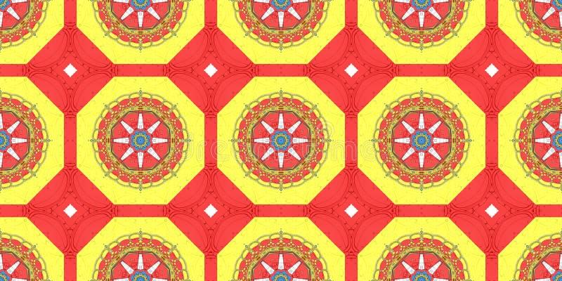 Reticolo etnico Progettazione astratta del tessuto del caleidoscopio illustrazione di stock