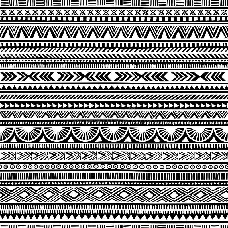 Reticolo etnico senza giunte handmade Bande orizzontali Il nero e illustrazione vettoriale