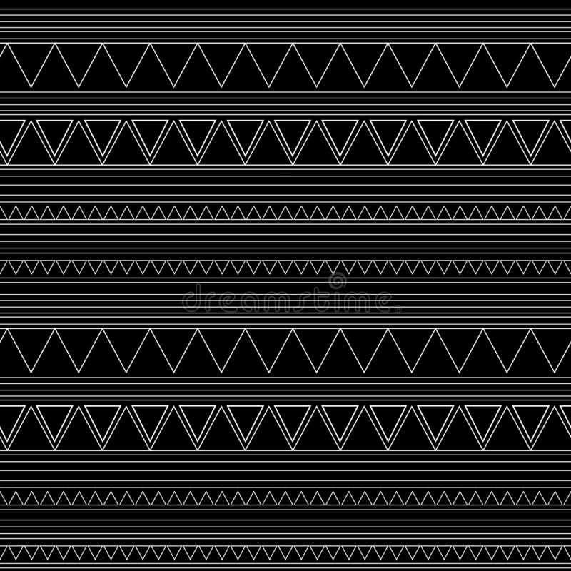 Reticolo etnico senza giunte handmade Bande orizzontali Stampa in bianco e nero per i vostri tessuti Stile africano dell'illustra illustrazione di stock