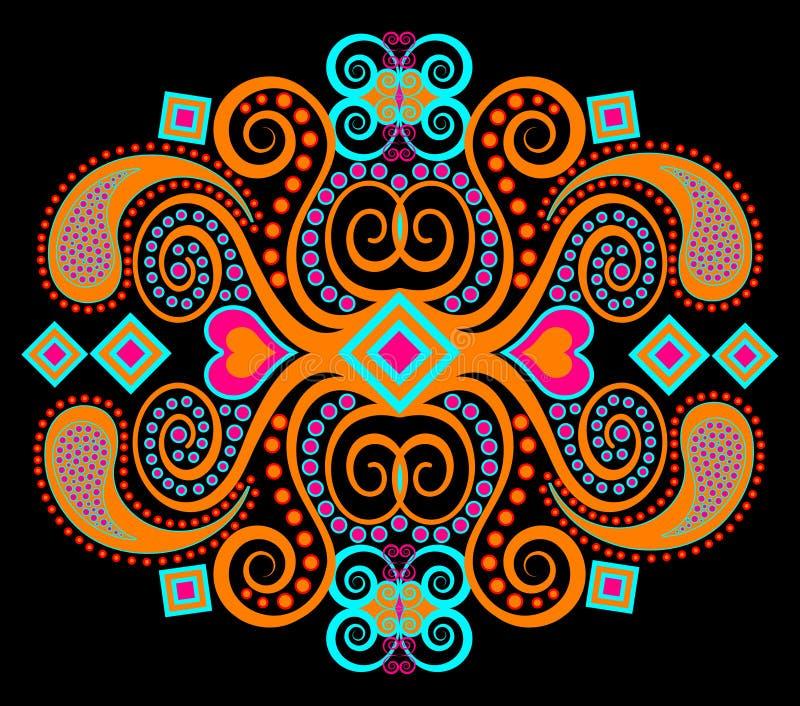 Reticolo etnico tribale arancione illustrazione vettoriale