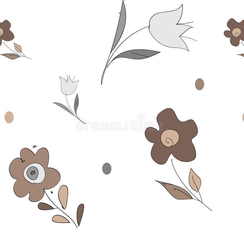 Reticolo floreale astratto senza giunte Fondo beige e bianco di vettore Ornamento geometrico della foglia illustrazione vettoriale