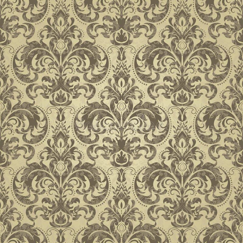 Reticolo floreale Barocco della carta da parati, damasco Colore dell'oro illustrazione vettoriale
