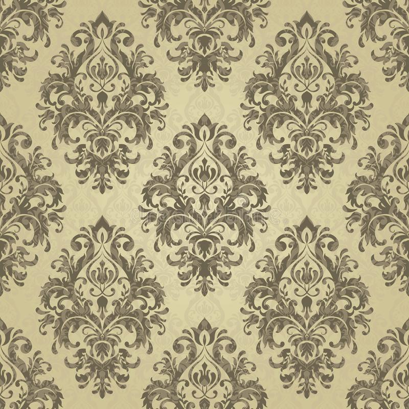 Reticolo floreale Barocco della carta da parati, damasco Colore dell'oro royalty illustrazione gratis