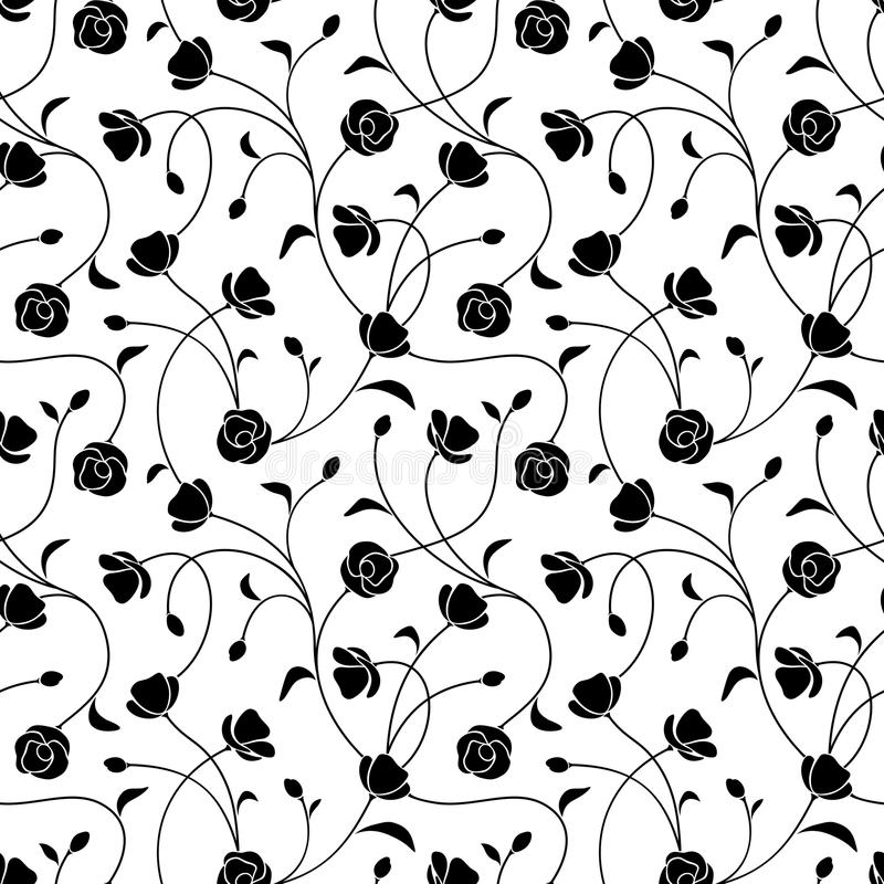 Reticolo floreale in bianco e nero senza giunte Illustrazione di vettore royalty illustrazione gratis