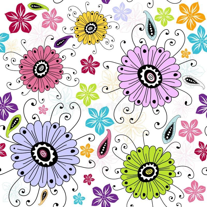 Reticolo floreale bianco senza giunte illustrazione vettoriale