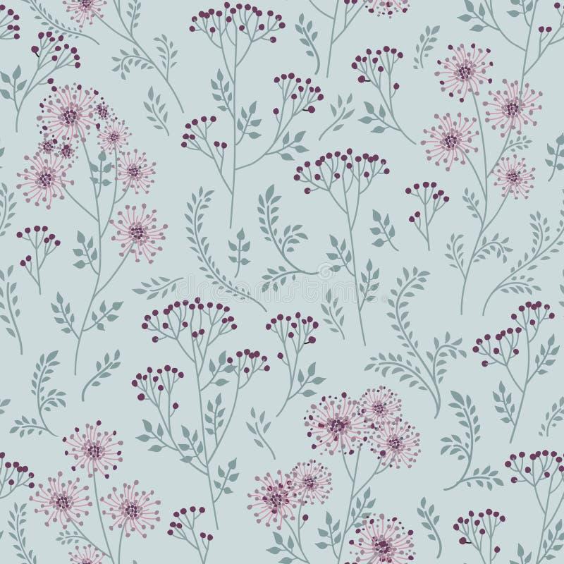 Reticolo floreale con i fogli Parte posteriore senza cuciture del ramo ornamentale dell'erba illustrazione vettoriale