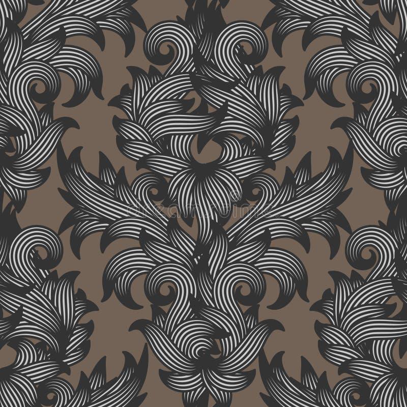 Reticolo floreale del damasco senza giunte royalty illustrazione gratis