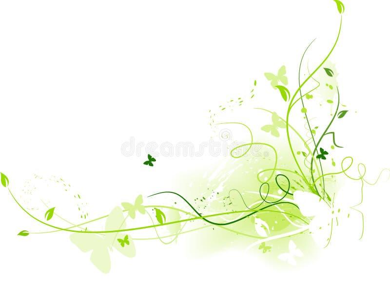 Reticolo floreale del grunge con le farfalle illustrazione di stock