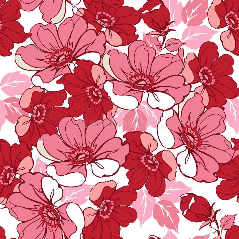 Reticolo floreale dentellare senza giunte Contesto decorativo dell'ornamento per tessuto, tessuto, carta da imballaggio illustrazione vettoriale