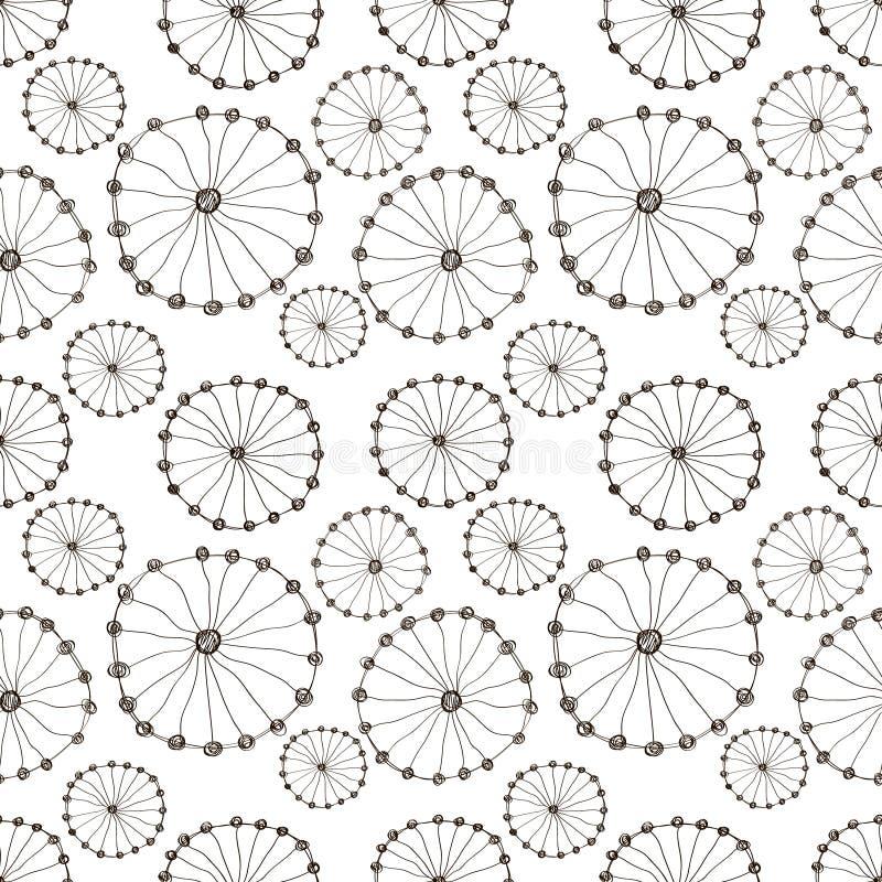 Reticolo floreale di vettore senza giunte Fondo disegnato a mano in bianco e nero con i fiori astratti illustrazione di stock