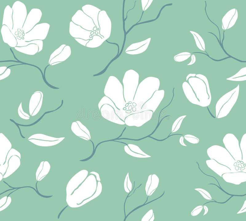 Reticolo floreale Fondo d'annata con i fiori di fioritura illustrazione vettoriale