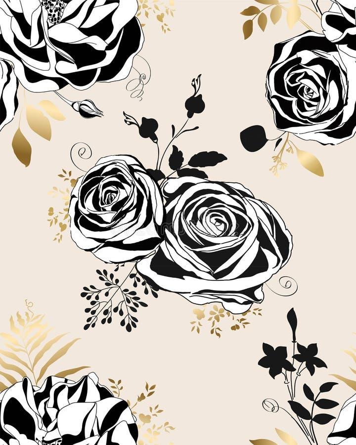 Reticolo floreale Rose e peonie in bianco e nero illustrazione vettoriale
