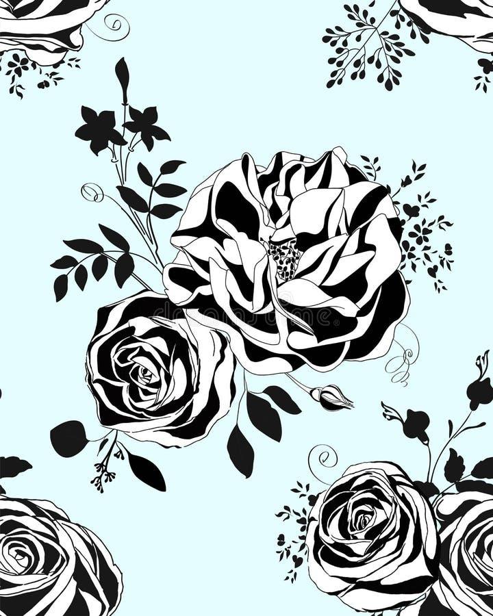 Reticolo floreale Rose e peonie in bianco e nero illustrazione di stock
