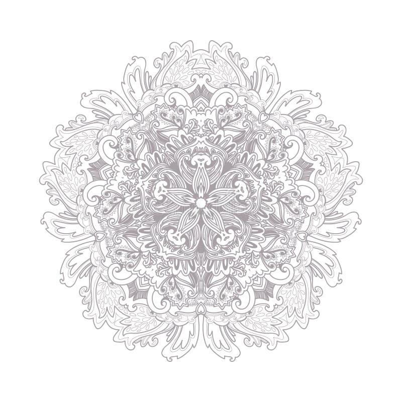Reticolo floreale rotondo ornamentale Linea decorativa struttura di arte per il modello di progettazione Elemento elegante di vet illustrazione vettoriale