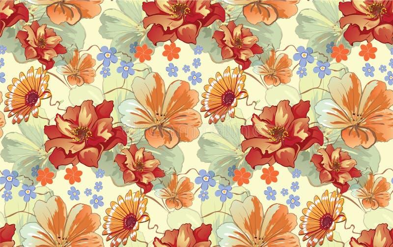 Reticolo floreale senza giunte royalty illustrazione gratis