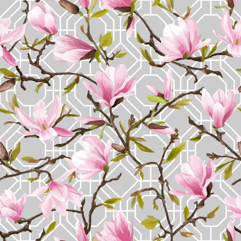 Reticolo floreale senza giunte Bei fiori dentellare della magnolia royalty illustrazione gratis
