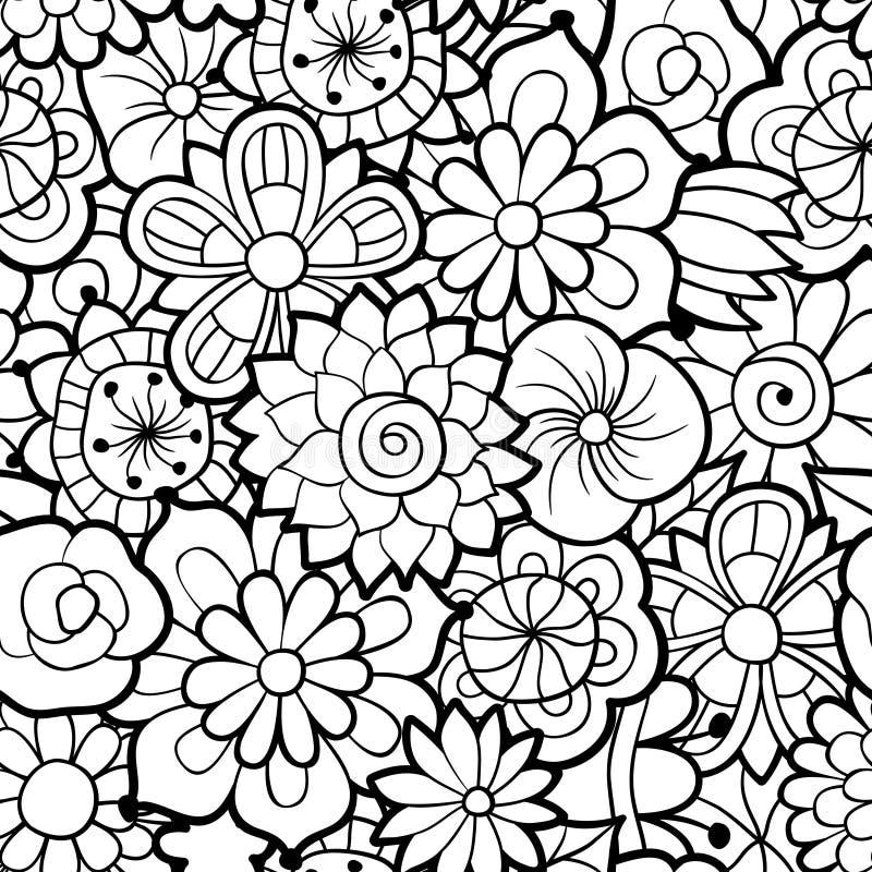 Reticolo floreale senza giunte in bianco e nero illustrazione vettoriale