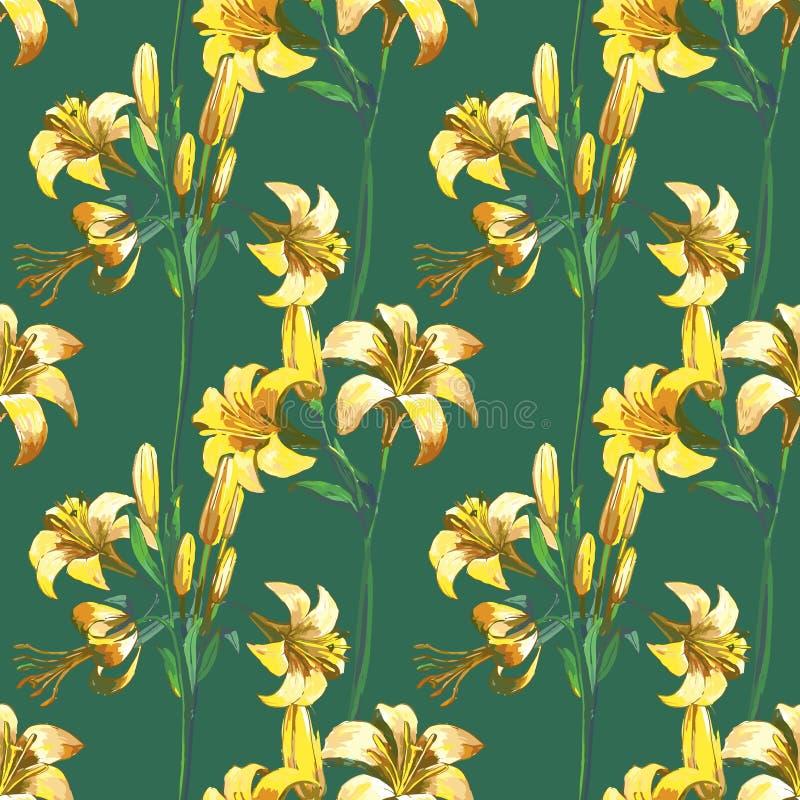 Reticolo floreale senza giunte con i fiori illustrazione vettoriale