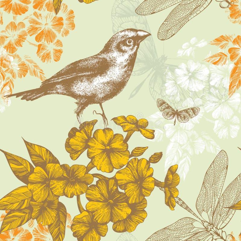 Reticolo floreale senza giunte con un butterf di volo dell'uccello illustrazione di stock