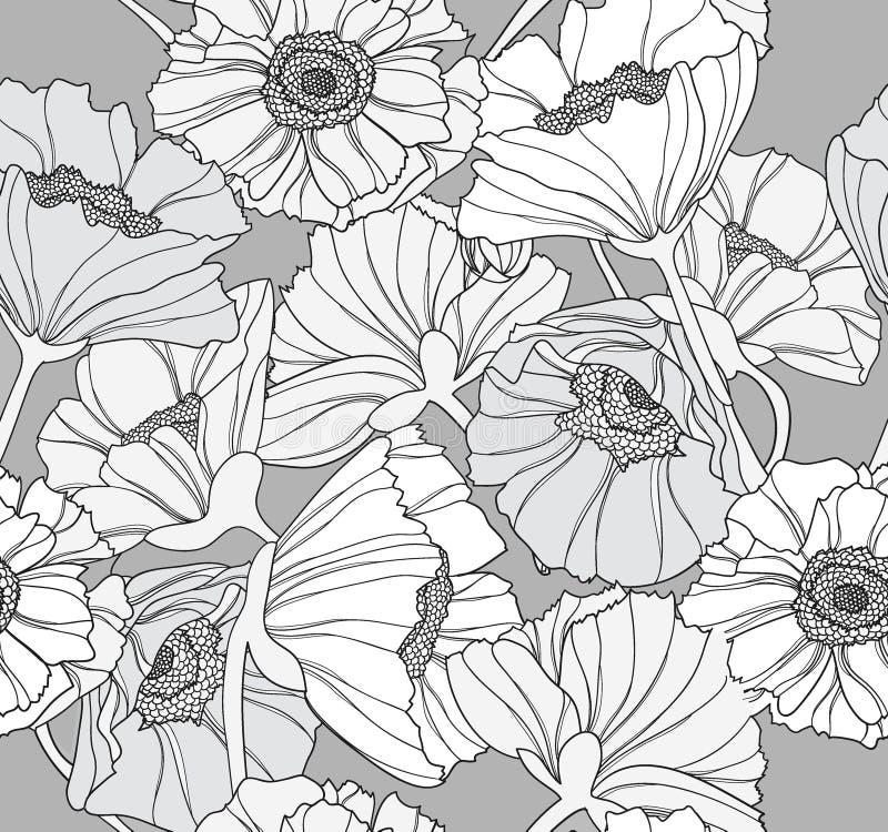Reticolo floreale senza giunte del papavero illustrazione di stock
