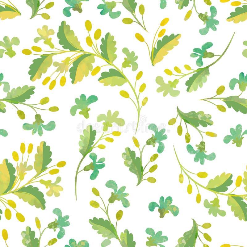 Reticolo floreale senza giunte Fiori e bacche dell'acquerello su un whi royalty illustrazione gratis