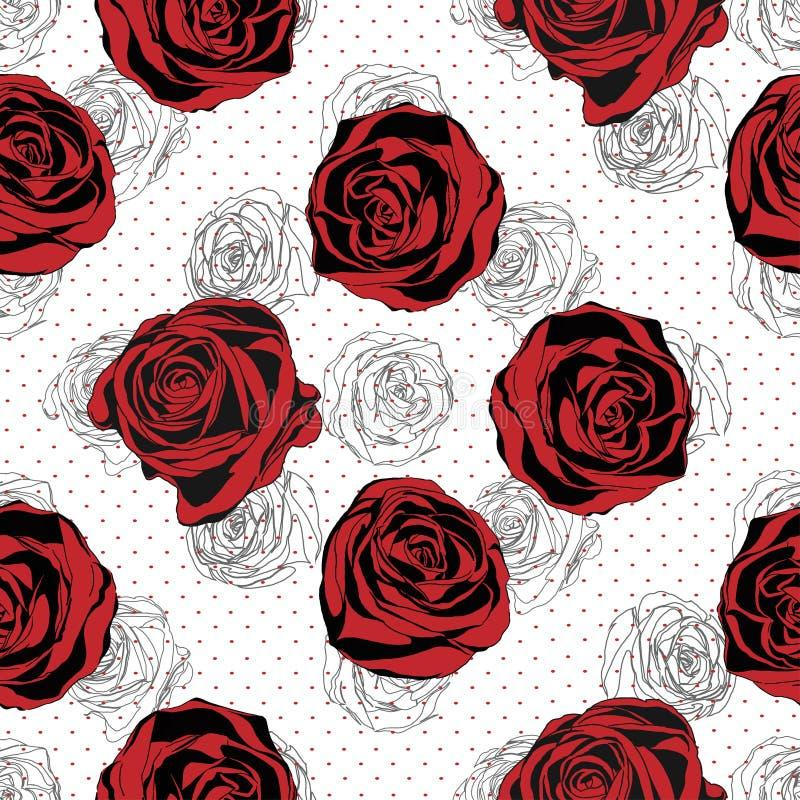 Reticolo floreale senza giunte Fondo di rosso di Rosa illustrazione di stock