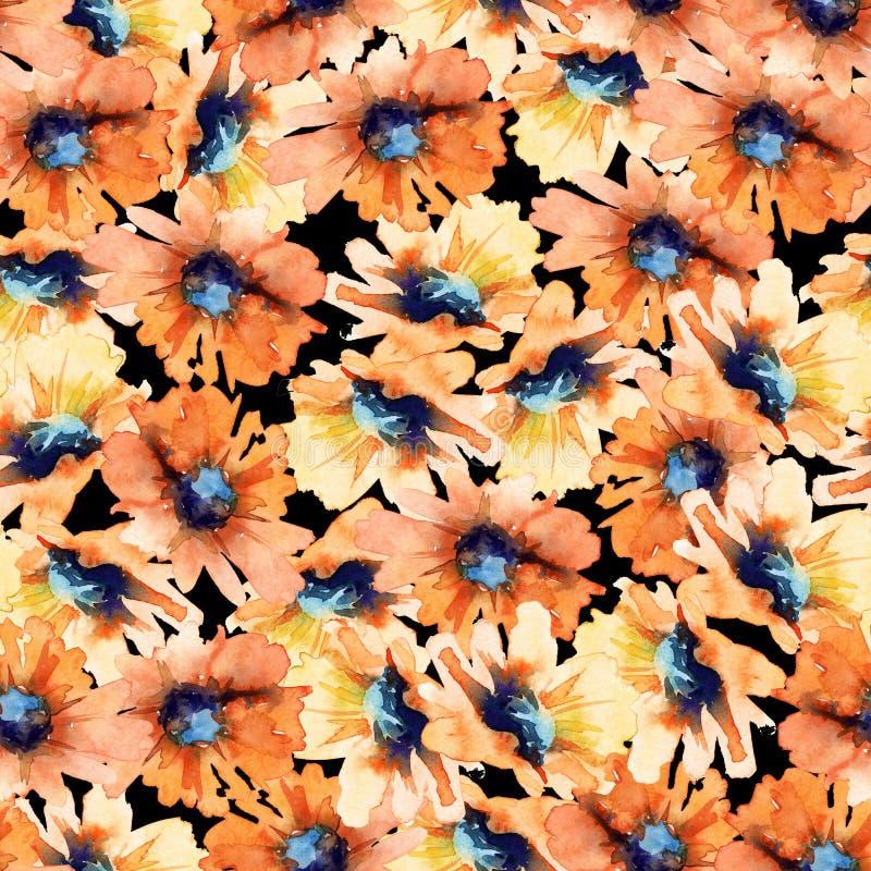Reticolo floreale senza giunte Girasoli watercolor illustrazione vettoriale