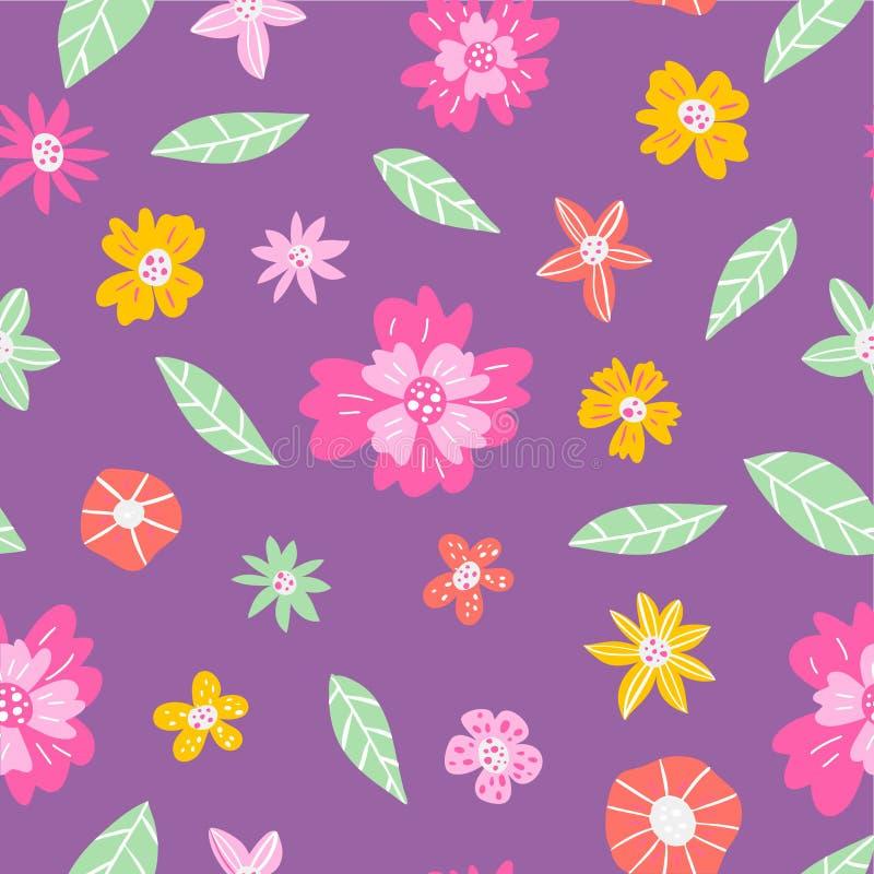 Reticolo floreale senza giunte sveglio Stampa floreale di arte carta, tessuti, coperture e carte Illustrazione disegnata a mano illustrazione vettoriale