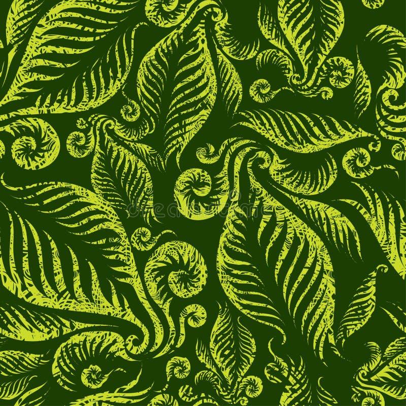Reticolo floreale verde senza giunte illustrazione di stock
